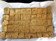 3/4 c Almond Flour 2 c Hemp Seeds ¼ c Coconut Flour ¼ c Tapioca Flour 2 Eggs 1 ½ tsp Sea Salt +2 tsp Garlic Powder + dash of sea salt on the Crackers 2 tsp heaping Baking Soda 1 tsp dried oregano and thyme each Dash of ground black pepper ½ c Coconut Oil or Olive oil Bake at 400 F. Check every 5 minutes. Turn when one side becomes golden.